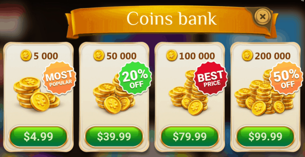 The coins bank. Multiple coin purchase options are visible.
