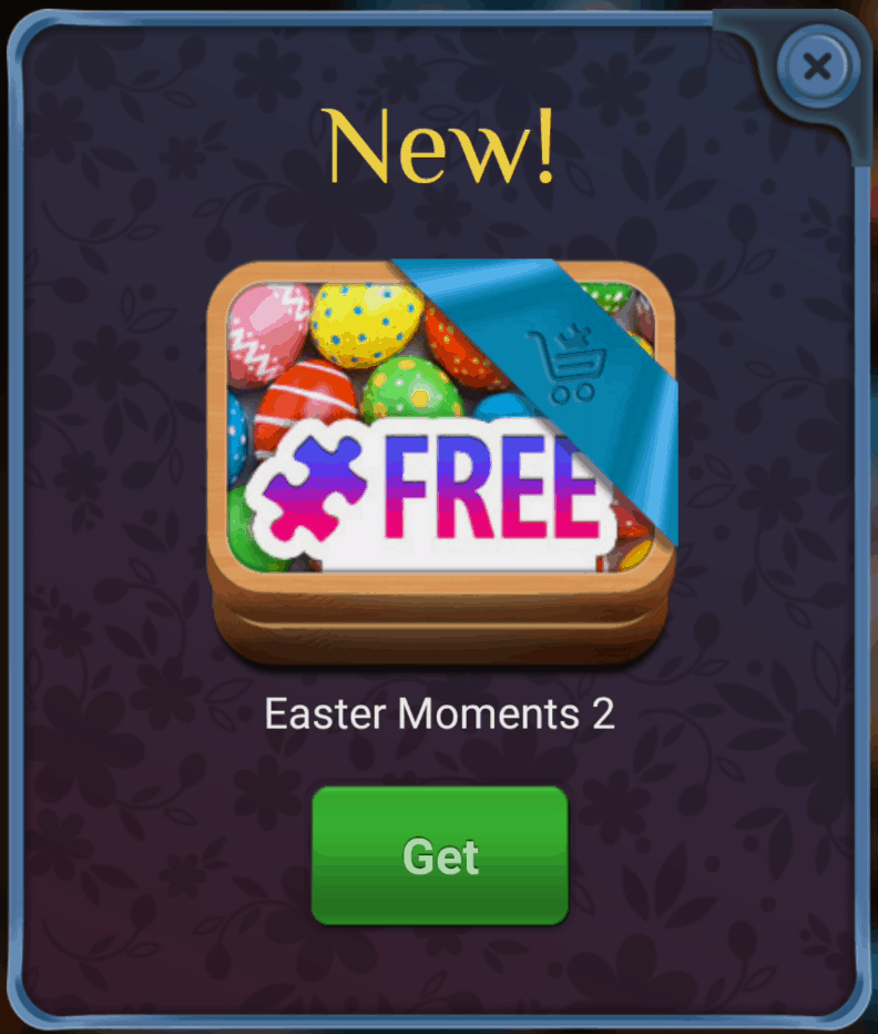 New free puzzles button. Easter Moments 2.