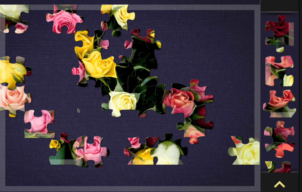 A Magic Jigsaw Puzzles level. Puzzle pieces with flowers are visible. Some are connected.