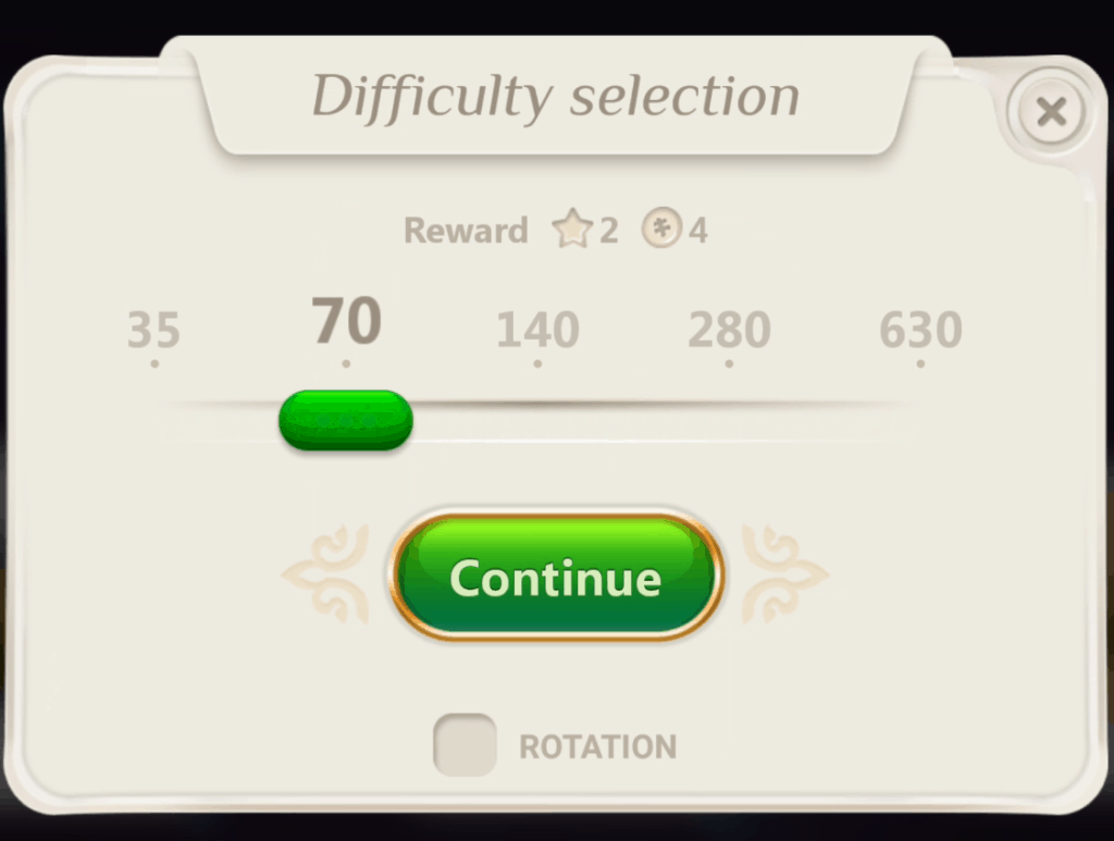 The difficulty selection screen. You can select 35, 70, 140, 280, and 630 puzzle sizes.