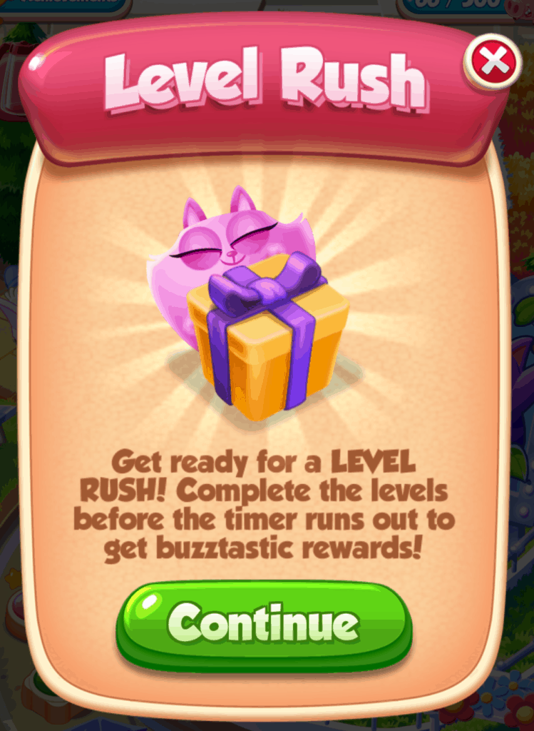The Cookie Cats level rush event information screen.