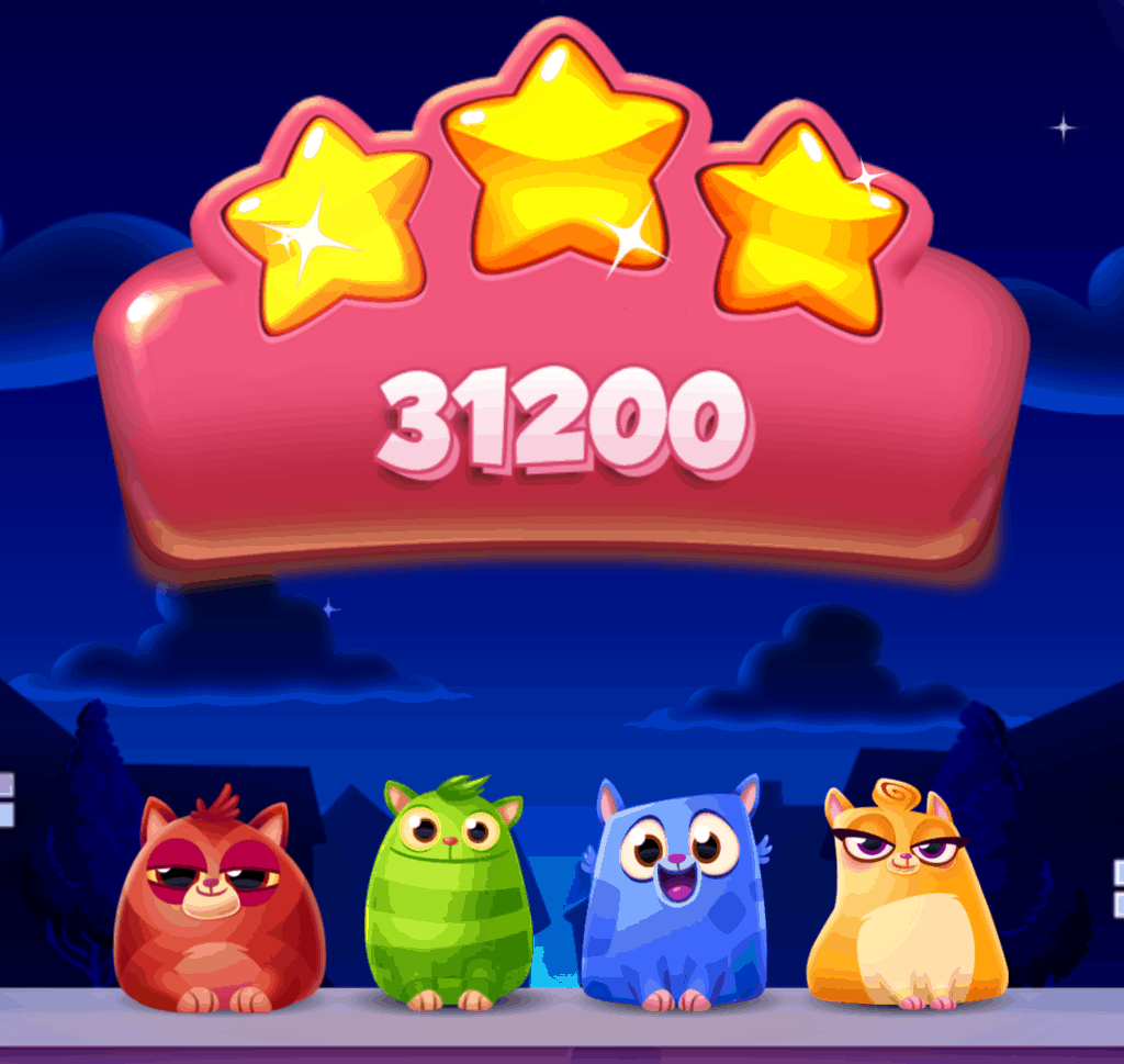 The level won screen. Three stars are lit up, and the cats are singing.