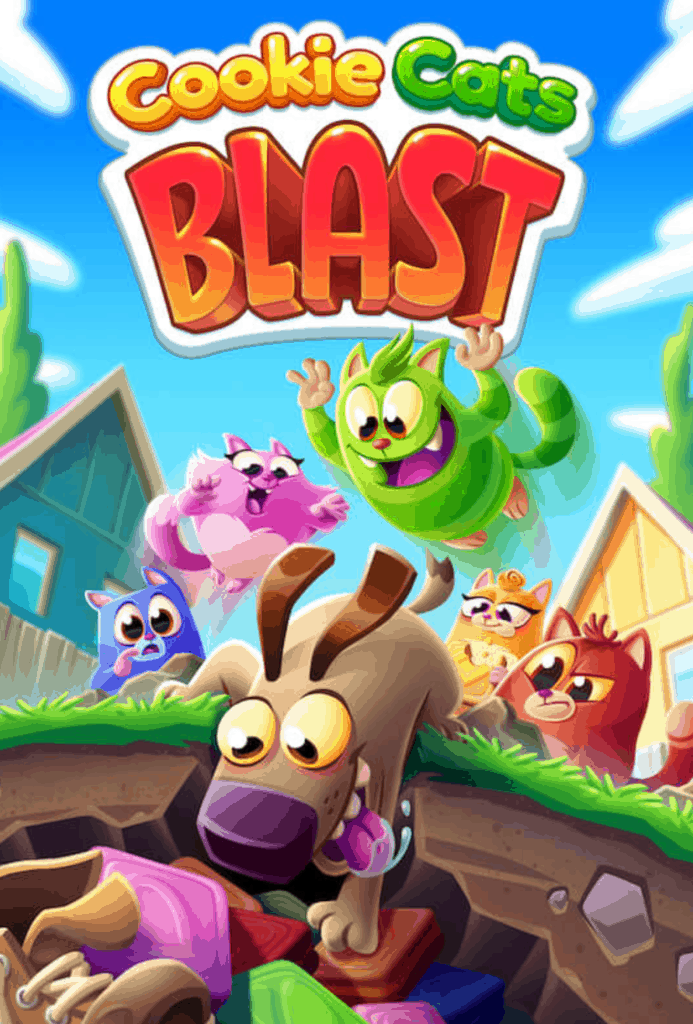 This is the Cookie Cats Blast loading screen. All the cats are present.