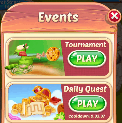 The Cookie Cats Pop events screen. Tournaments and daily quests are visible.