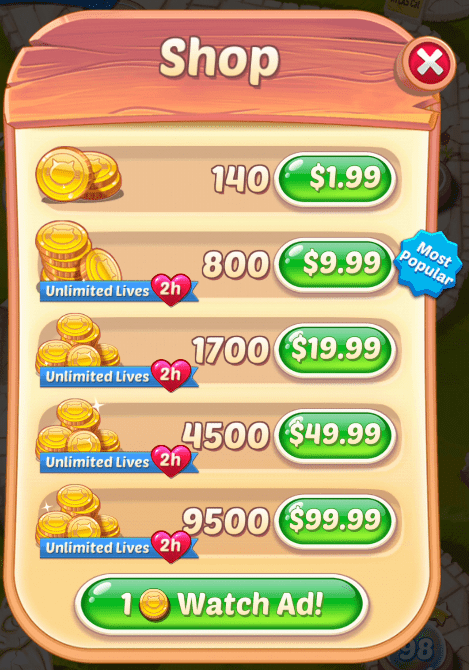 The Cookie Cats Pop Shop. You can buy multiple amounts of coins.