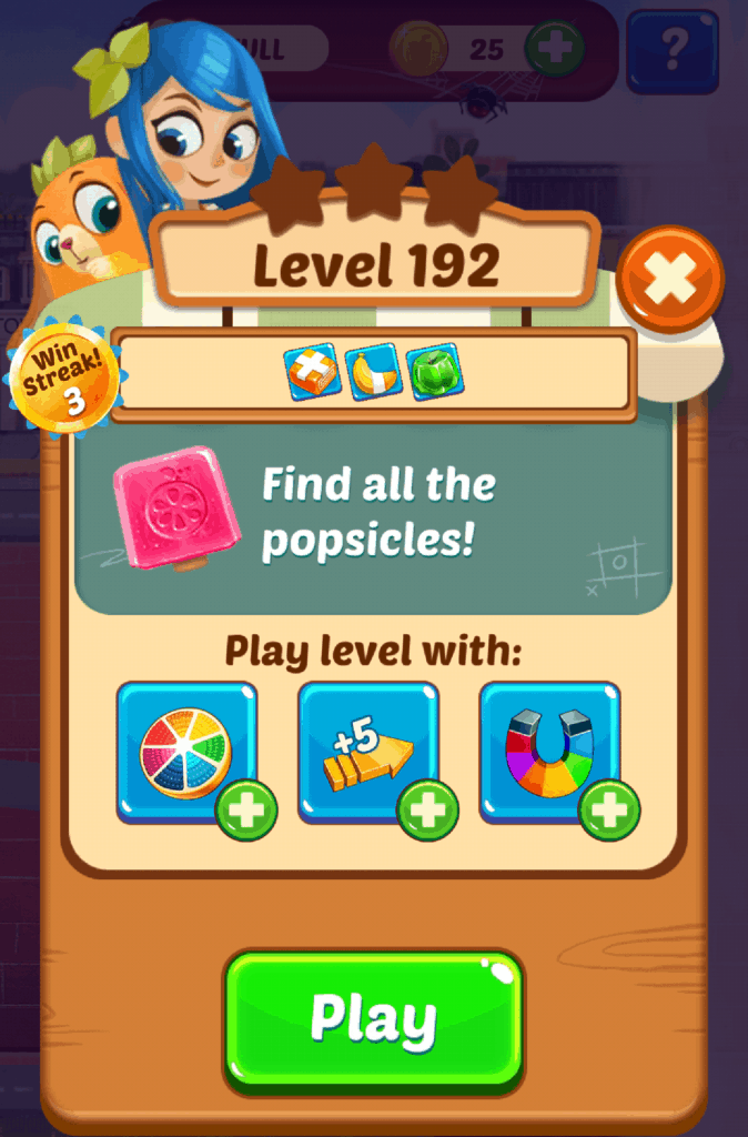 This is the start of a Juice Jam level. This is the information screen of level 192.