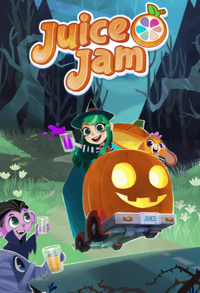 The Juice Jam loading screen. It is the Halloween theme.
