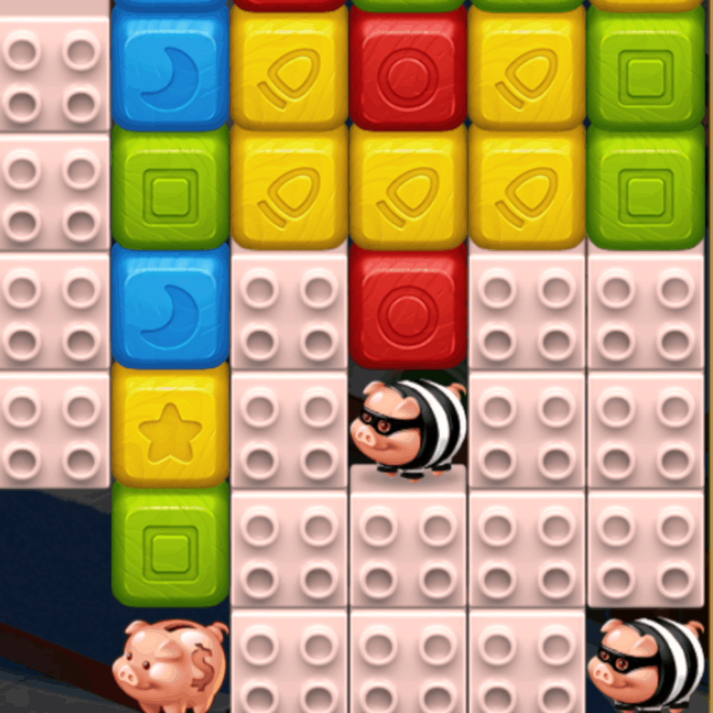 A Toy Blast level with Pigs and mask pigs