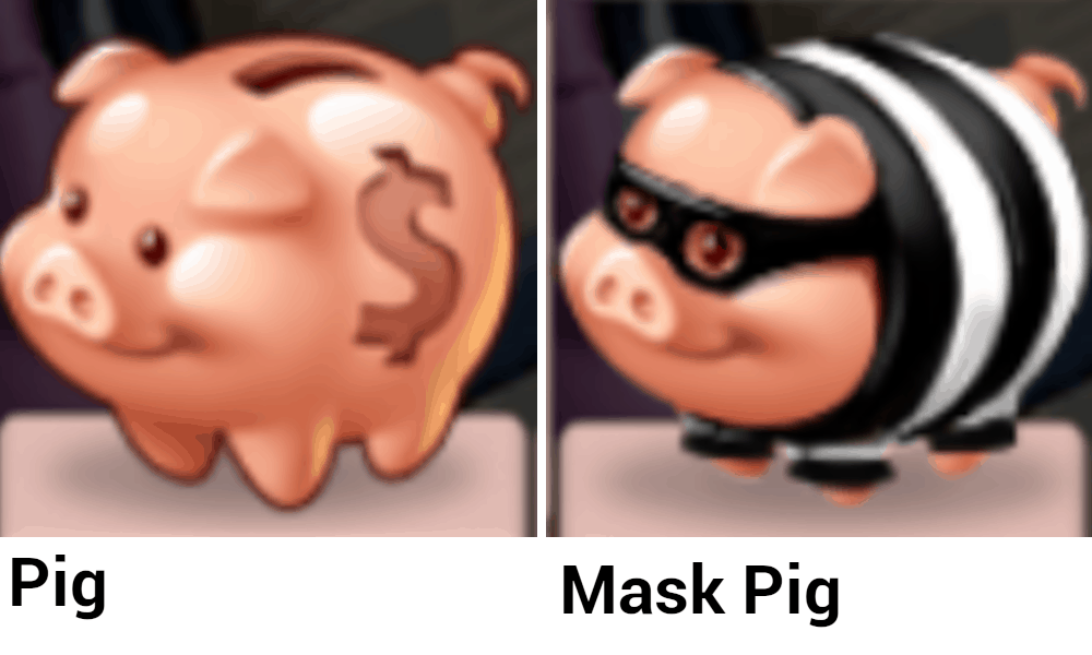 A pig and a mask pig.