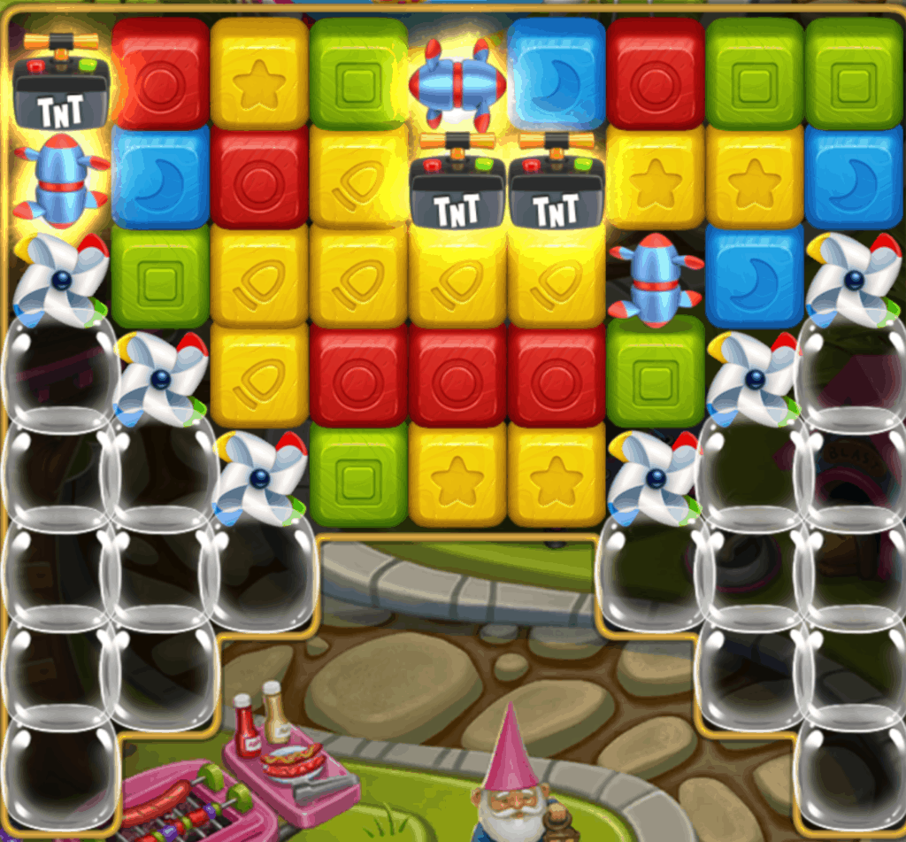 A Toy Blast level with powerups and pinwheels.