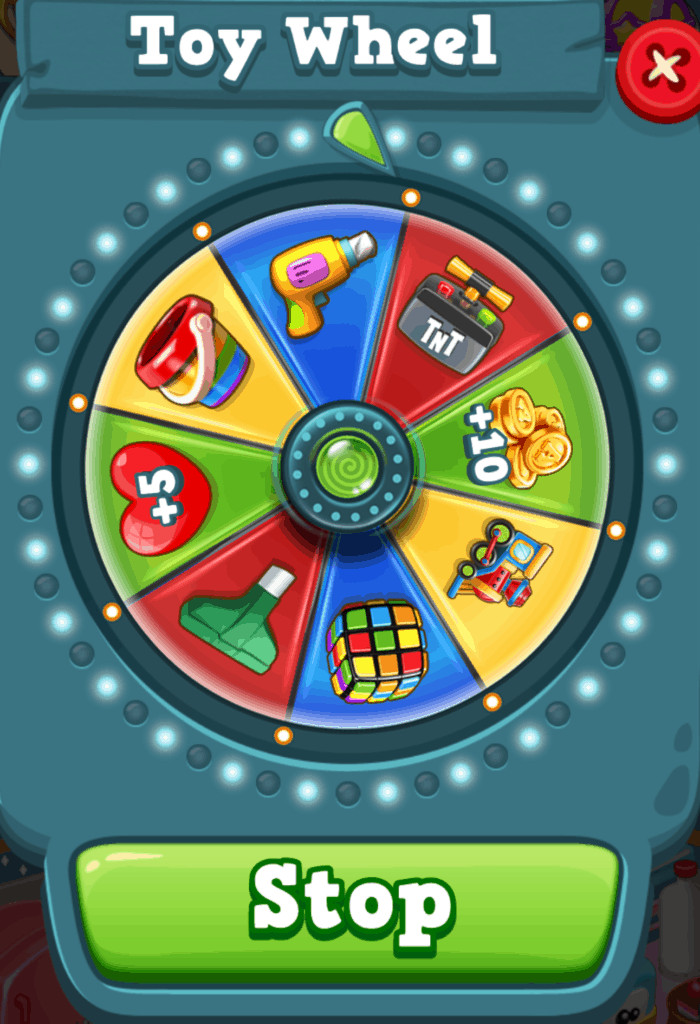 The Toy Blast toy wheel.