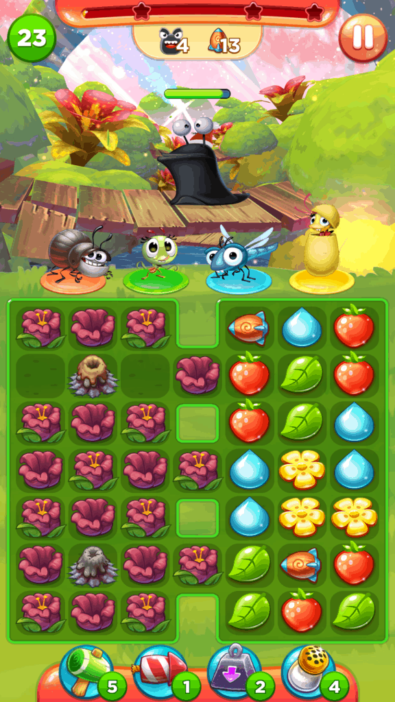 A Best Fiends Stars level. This level has a volcaon on it.