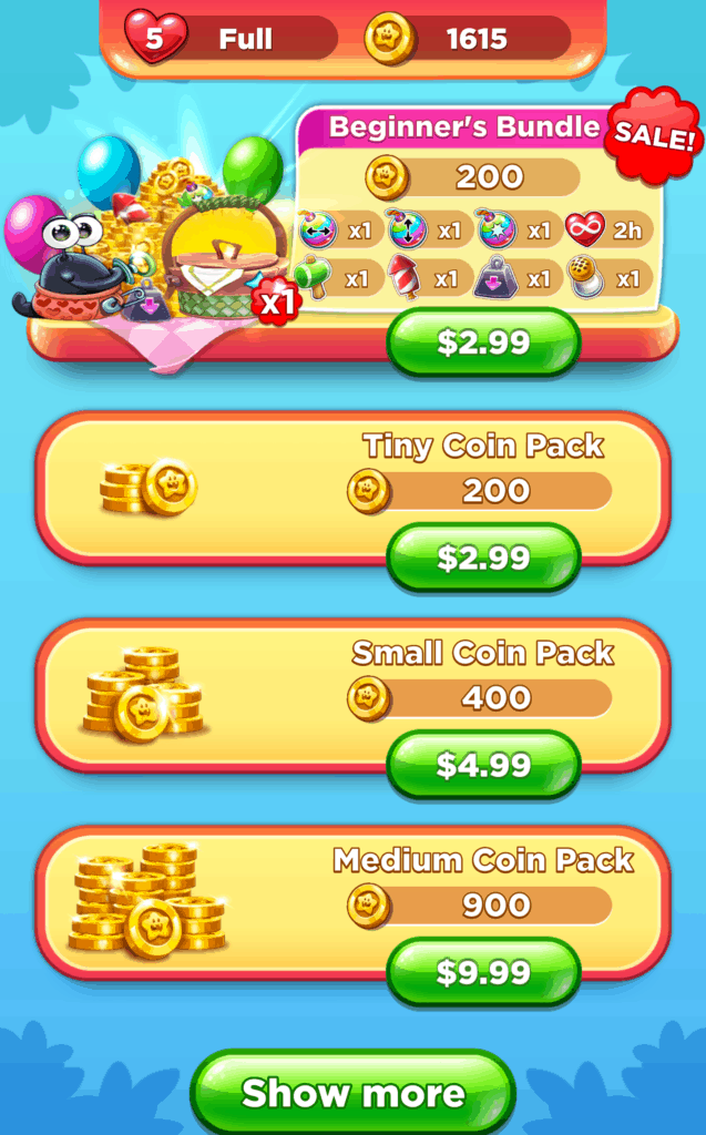The Best Fiends Stars store. There are multiple coin bundles to buy.