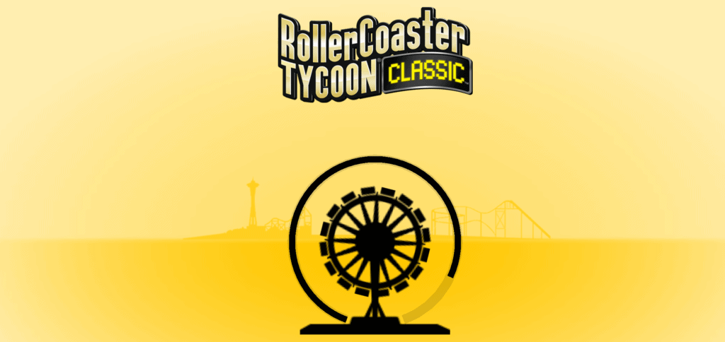 The Roller Coaster Tycoon Classic loading screen. A black ferris wheel is shown.