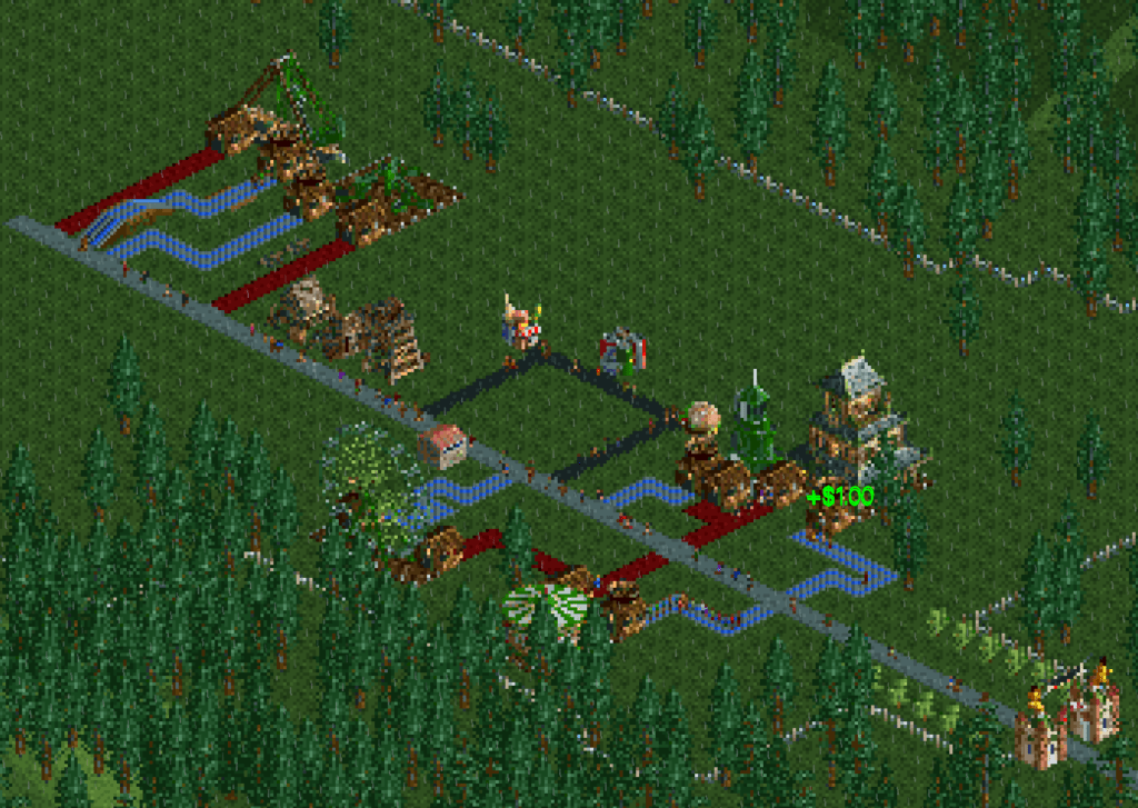 A zoomed out view of the first Roller Coaster Tycoon Classic park. Forest Frontiers.
