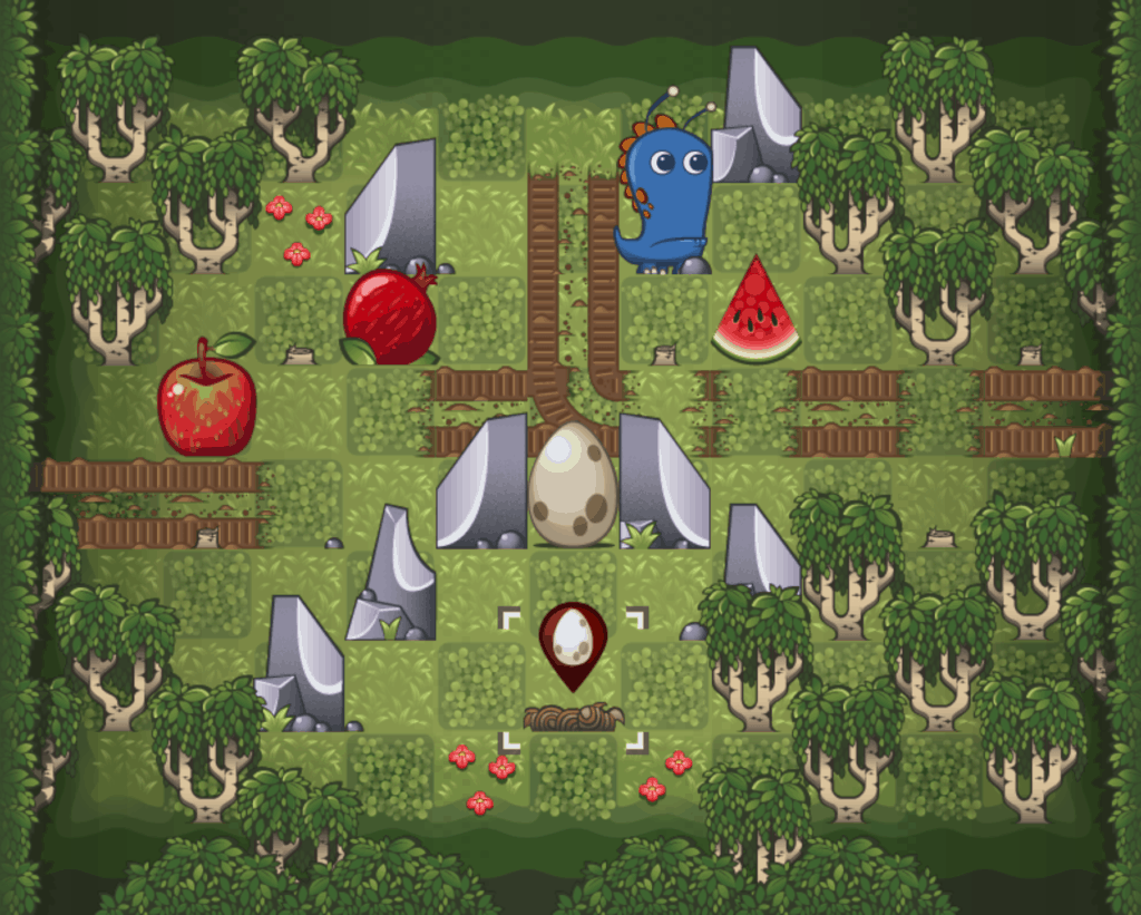 A forest level with lots of trees.