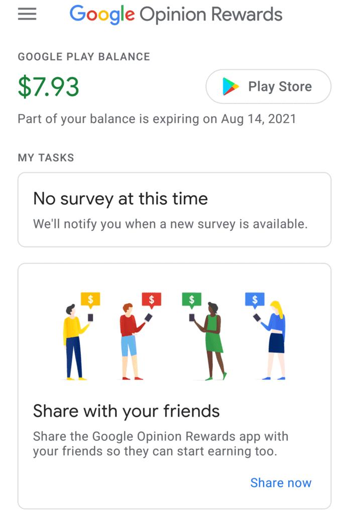 The main Google Opinion Rewards screen.