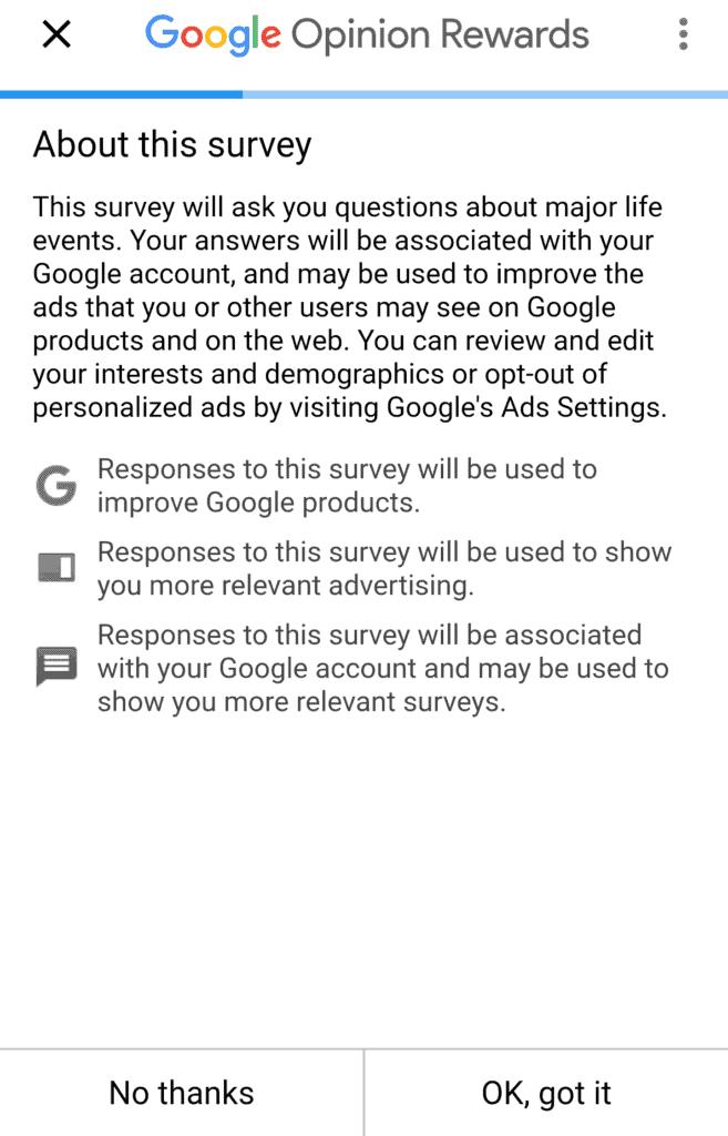 A Google Opinion Rewards survey.
