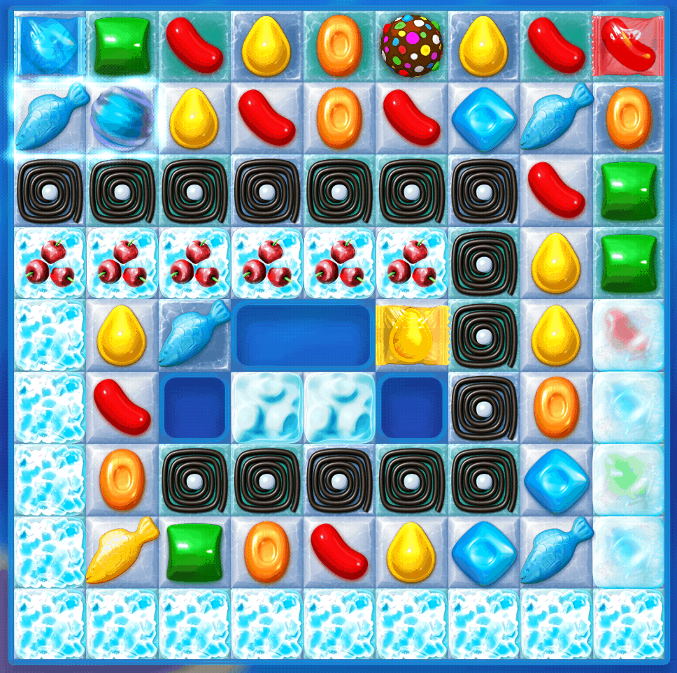 This is a picture of a Candy Crush Soda Saga frosting level.